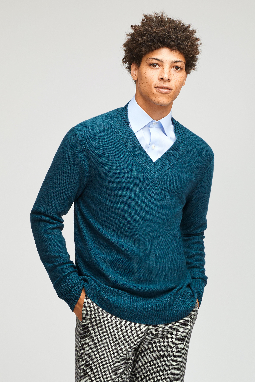 Wool Blend Deep V-Neck Sweater