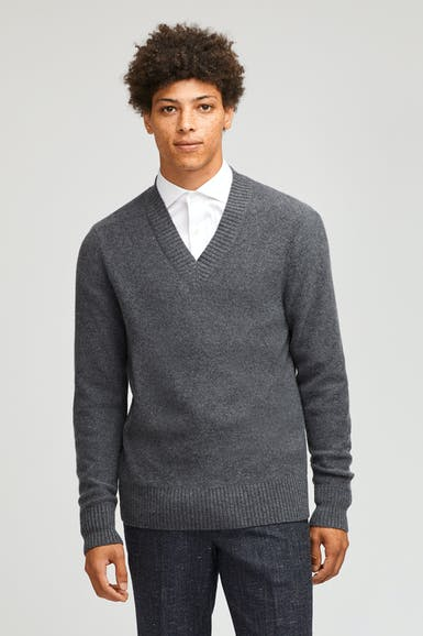 Wool Blend Deep V-Neck Sweater