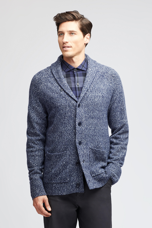 Textured Cotton Shawl Cardigan