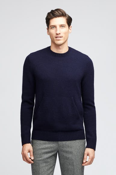 Wool Pocket Crew Neck Sweater