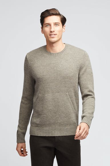 Wool Pocket Crew Neck Sweater