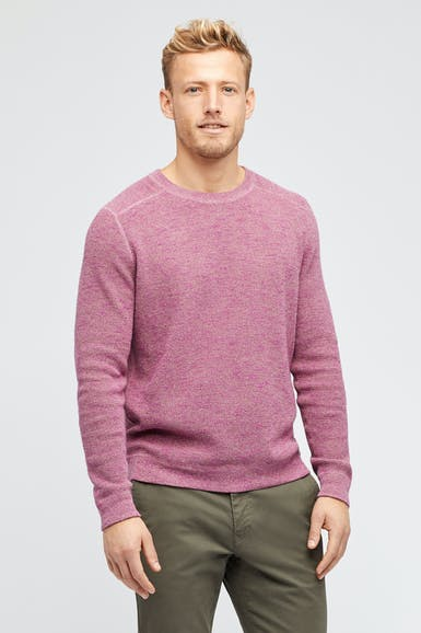 Cotton Linen Waffle Crew Neck Sweater
