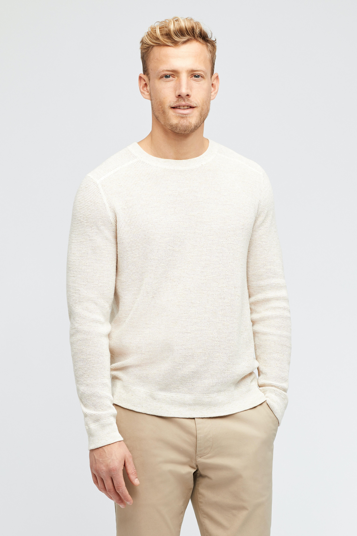 Cotton Linen Waffle Crew Neck Sweater