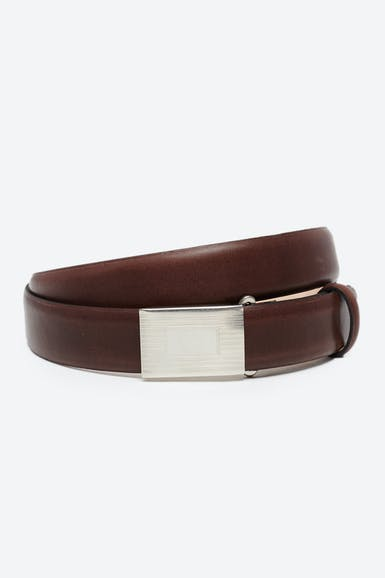 Classic Leather Belt with Plaque