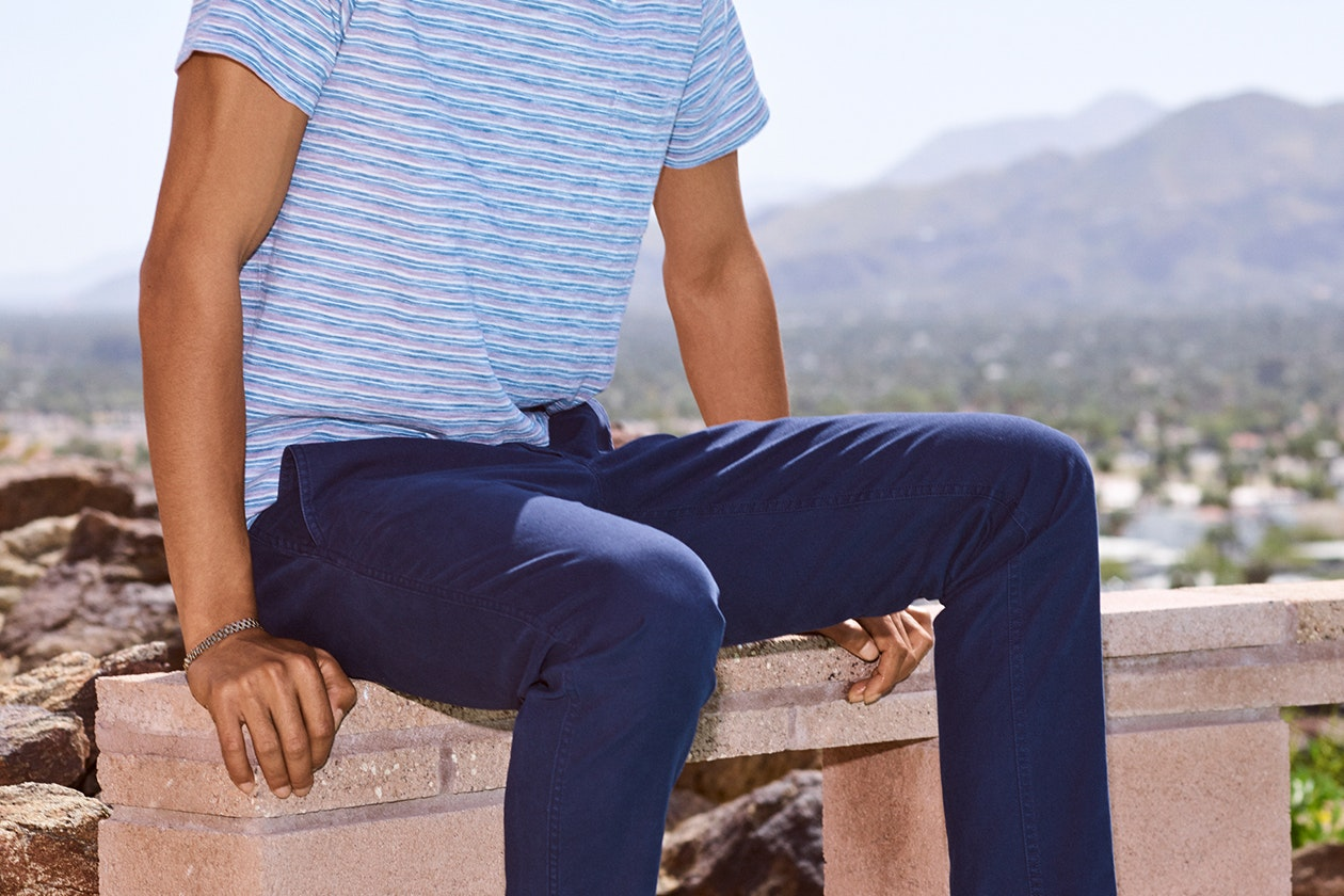Editorial photo for Stretch Organic Cotton Chinos category