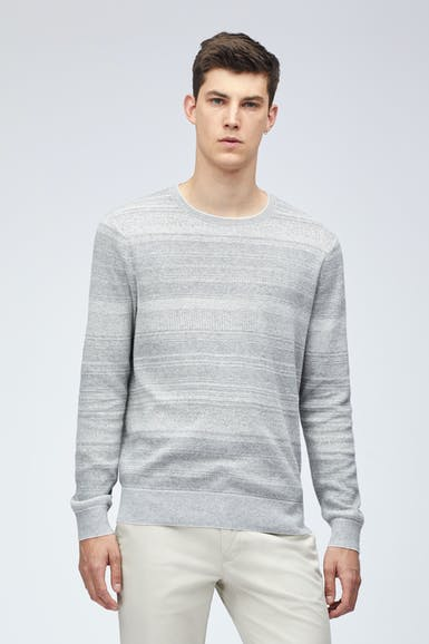 Cotton Linen Texture Stripe Crew