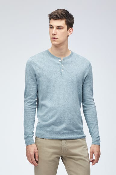 Cotton Linen Long Sleeve Henley