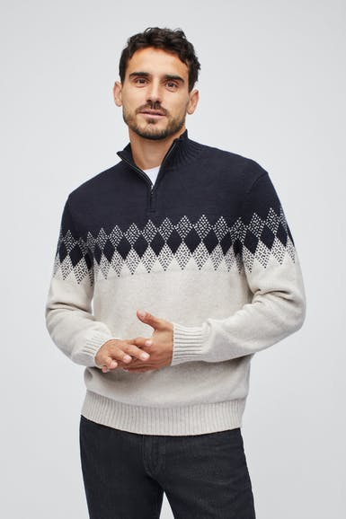 Fair Isle Half-Zip Sweater
