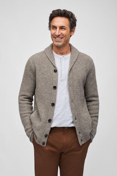 Yak Wool Shawl Cardigan Sweater