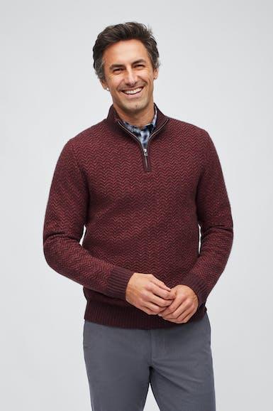 Yak Blend Chevron Half Zip Sweater