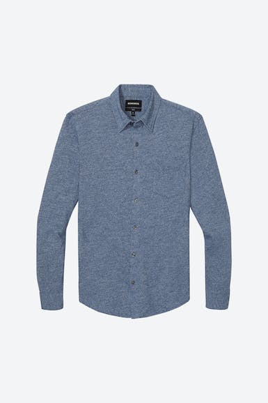 Marled Jersey Button-Down Extended Sizes