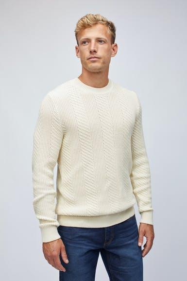 Cotton Cashmere Cable Crew Neck Sweater