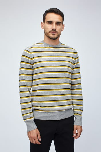 Cotton Blend Crew Neck Sweater