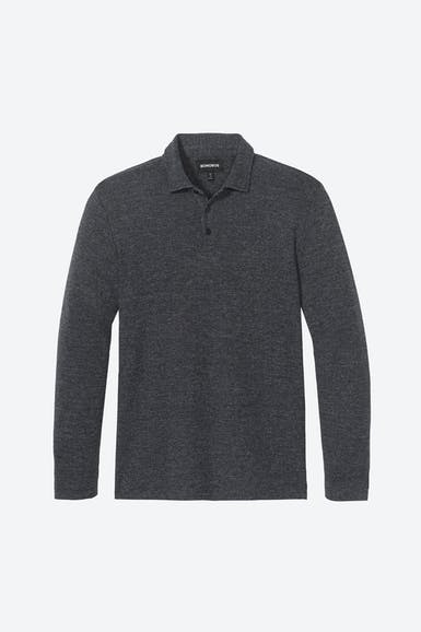 Herringbone Long Sleeve Polo