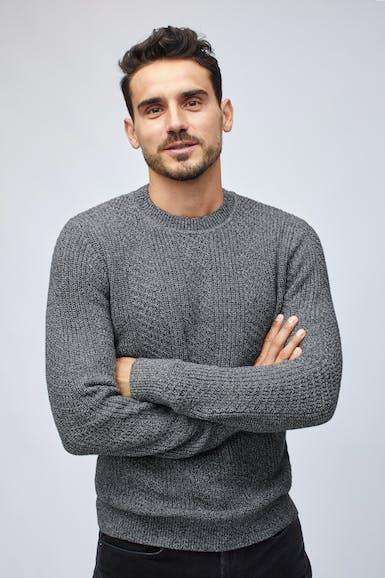 Cotton Cashmere Cable Crew Neck Sweater