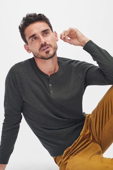 Lightweight Cotton Sweater Henley