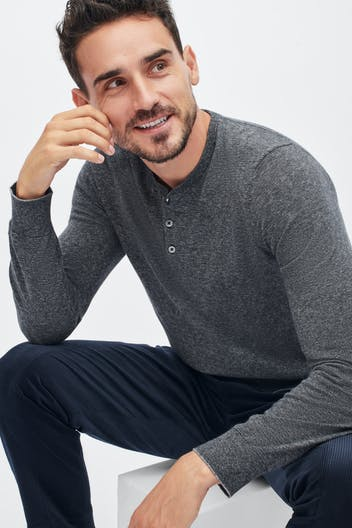 Lightweight Cotton Sweater Henley