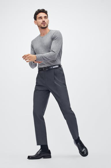 Pleated Stretch Wool Trousers