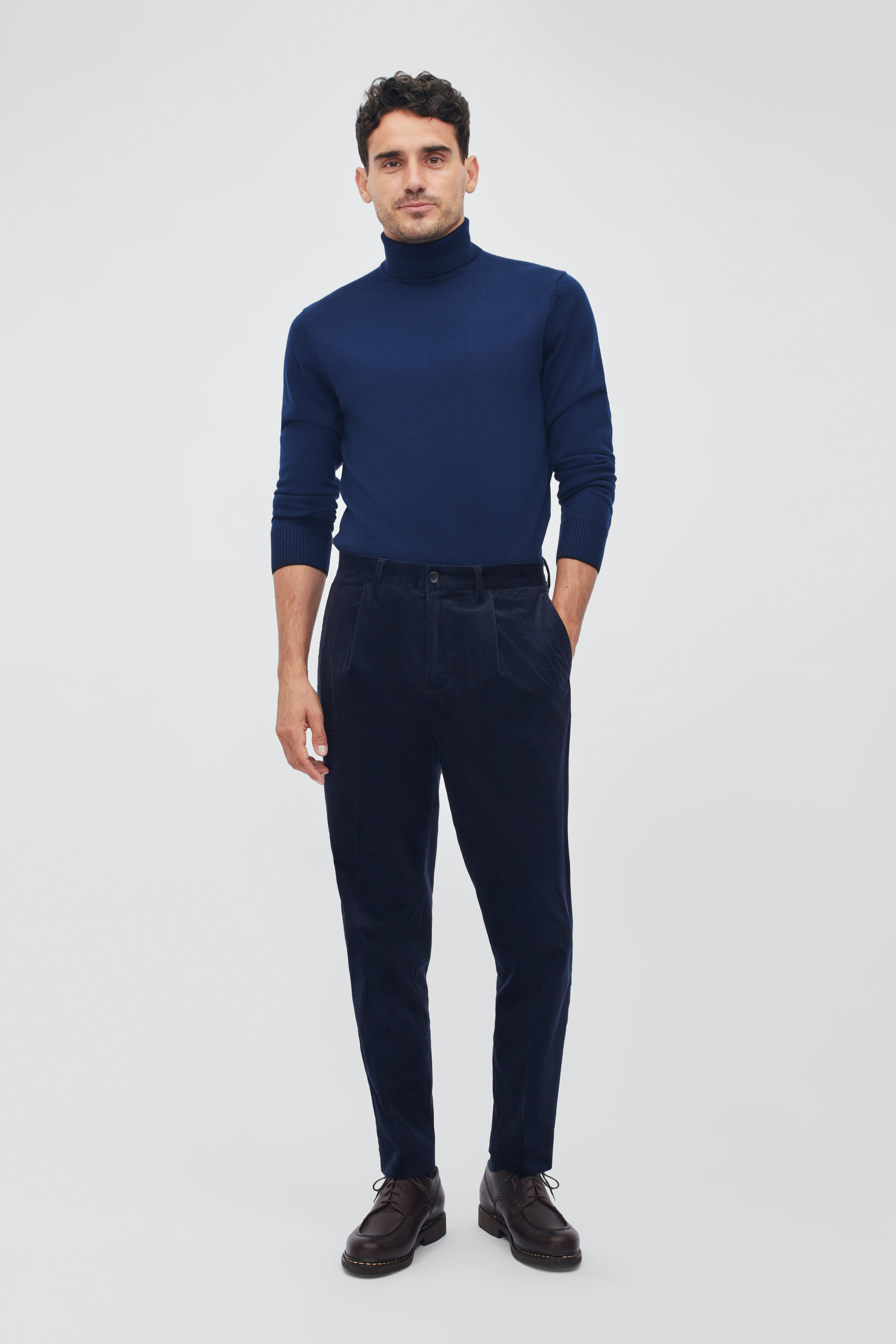 Pleated Stretch Corduroy Trousers
