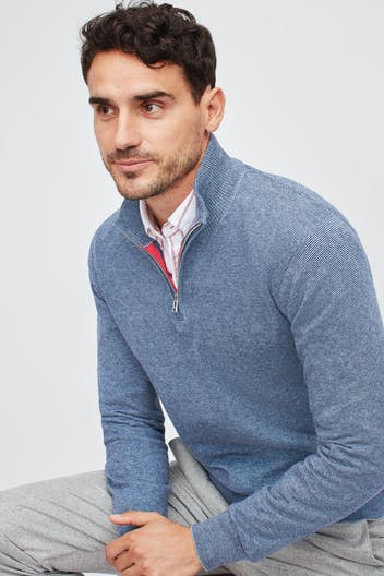 Washable Cotton Cashmere Half-Zip Sweater