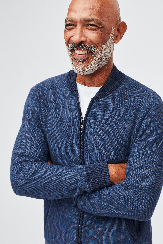 Cotton Cashmere Bomber Sweater