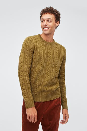 Merino Cable Crew Neck Sweater