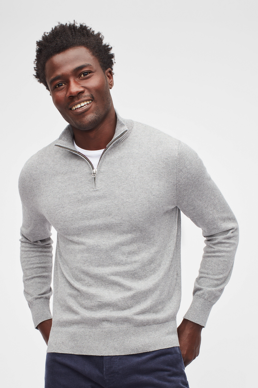 Washable Cotton Cashmere Half-Zip Sweater