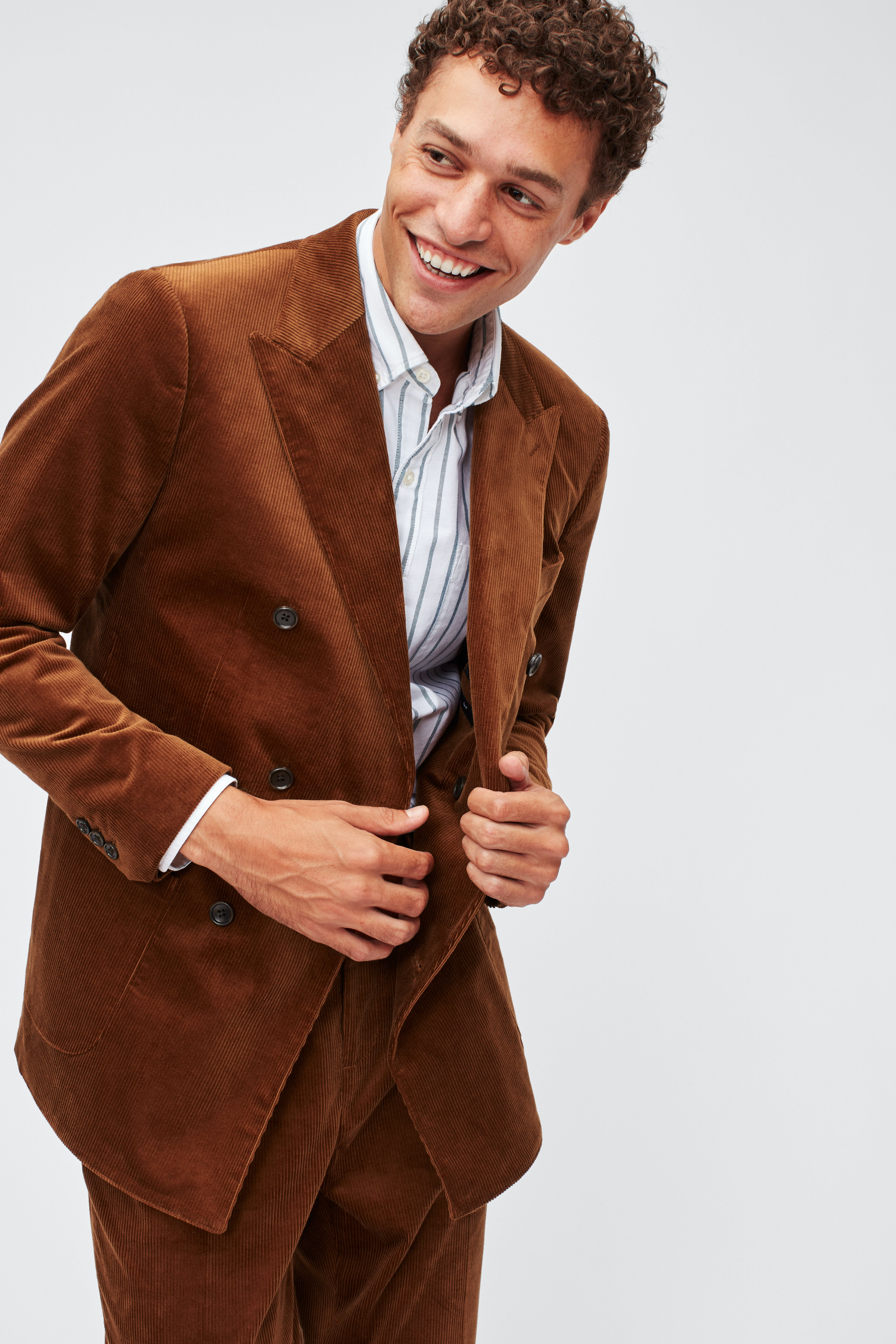 Double-Breasted Stretch Corduroy Blazer