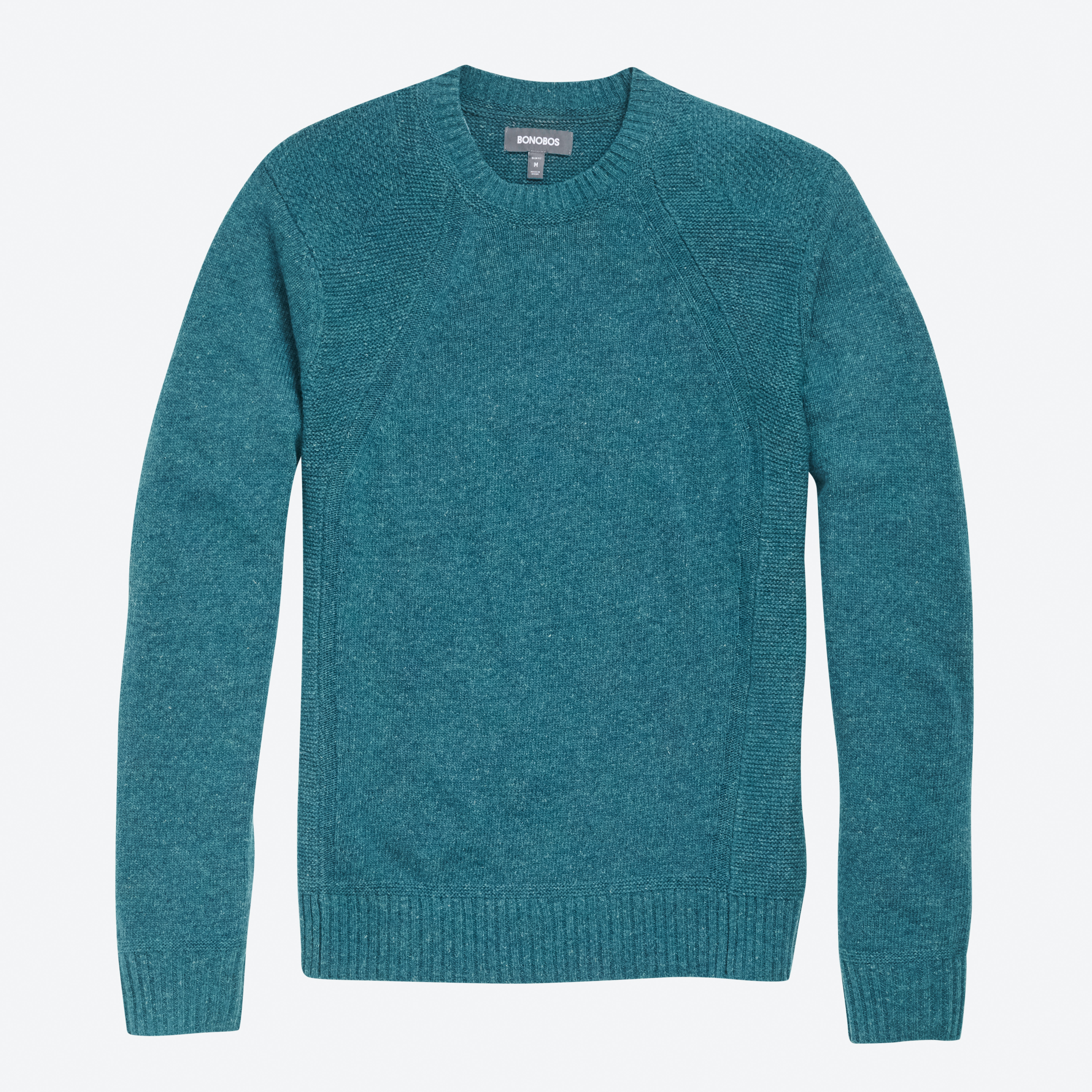Textured Italian Wool Crew Neck Sweater