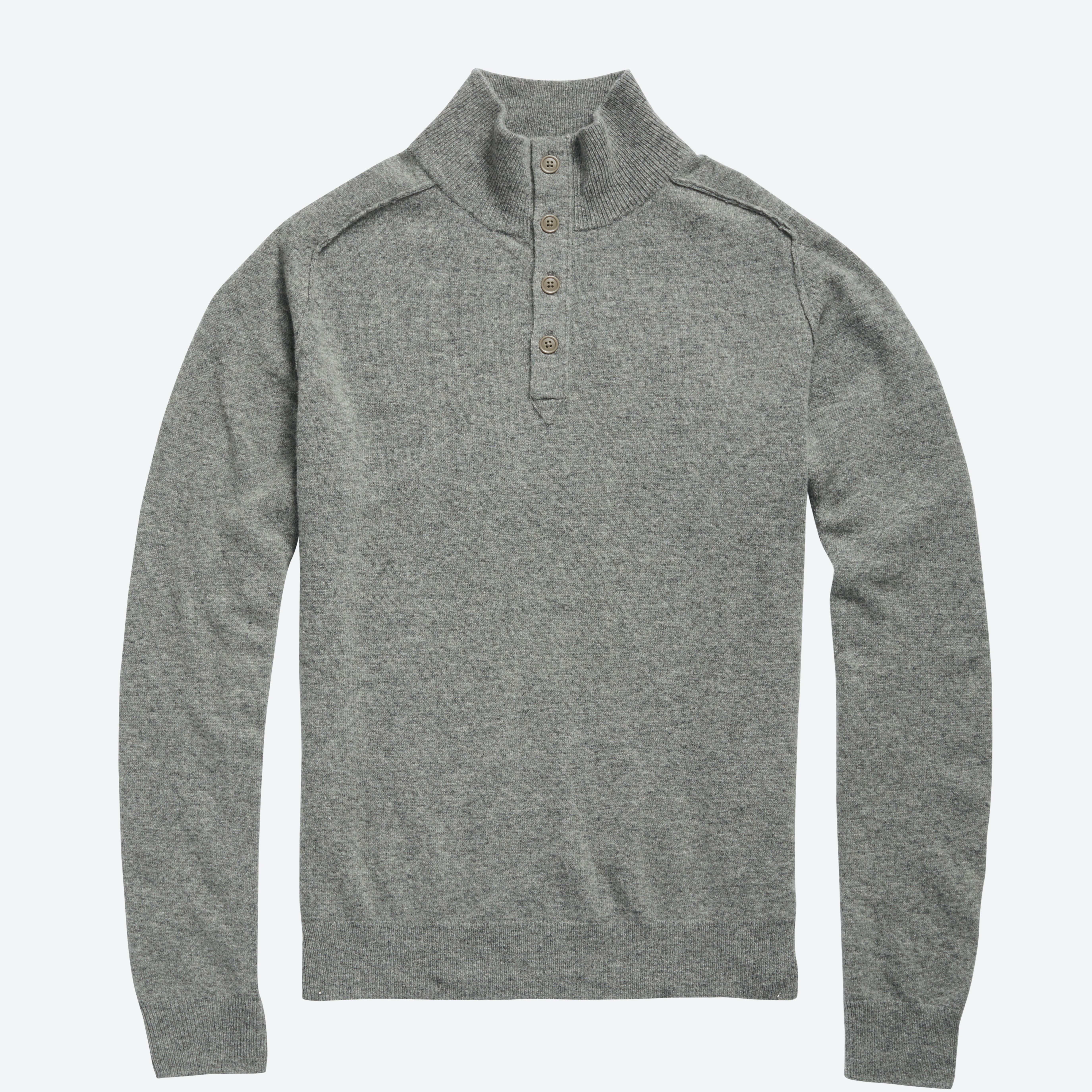 Lightweight Wool Button Mock Sweater