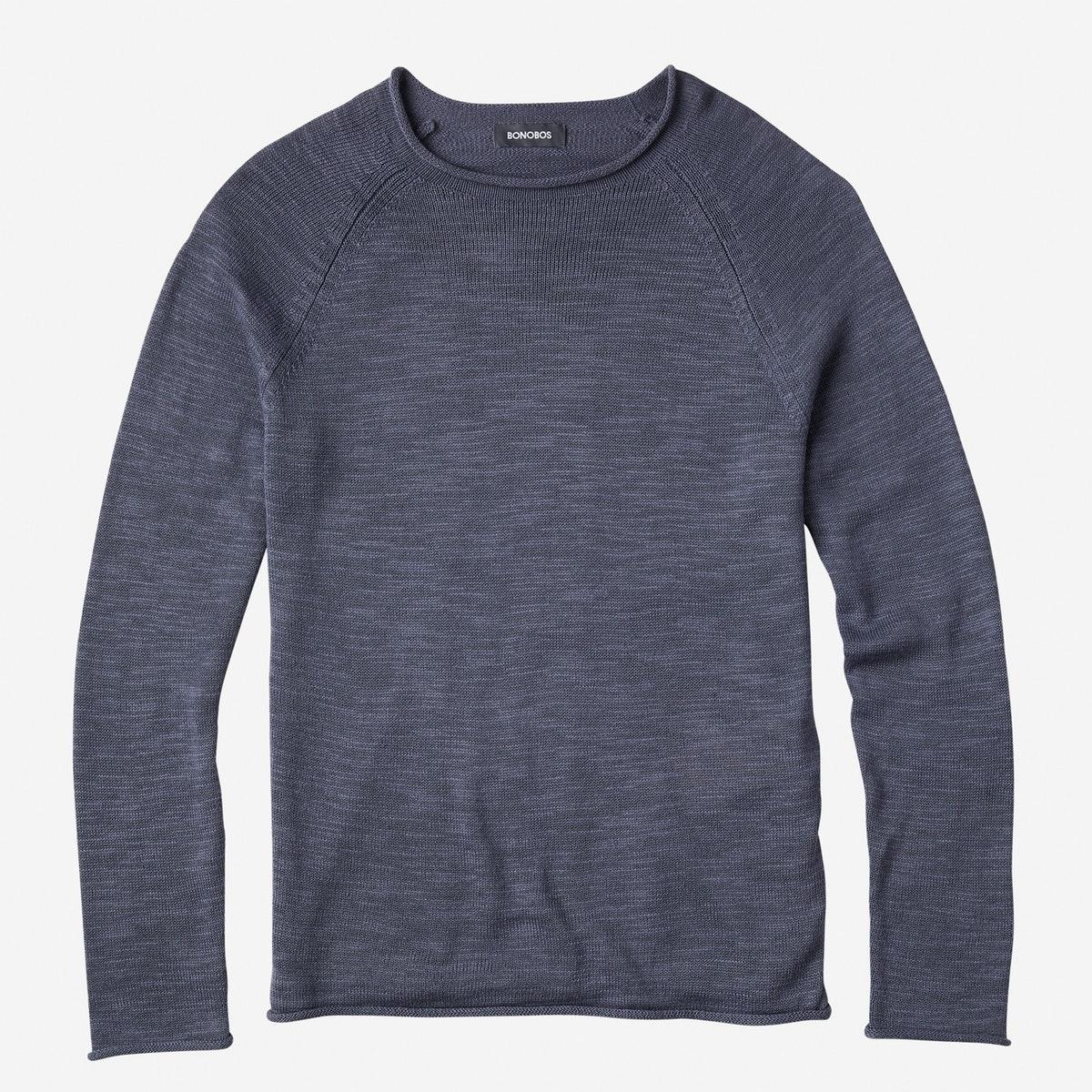 Lightweight Cotton Roll Neck Sweater