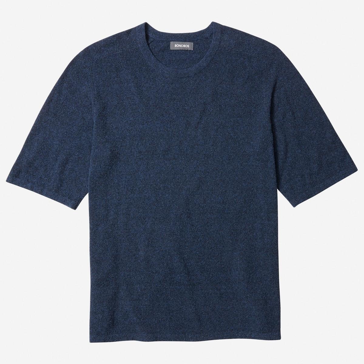 Cotton Boucle Short Sleeve Sweater