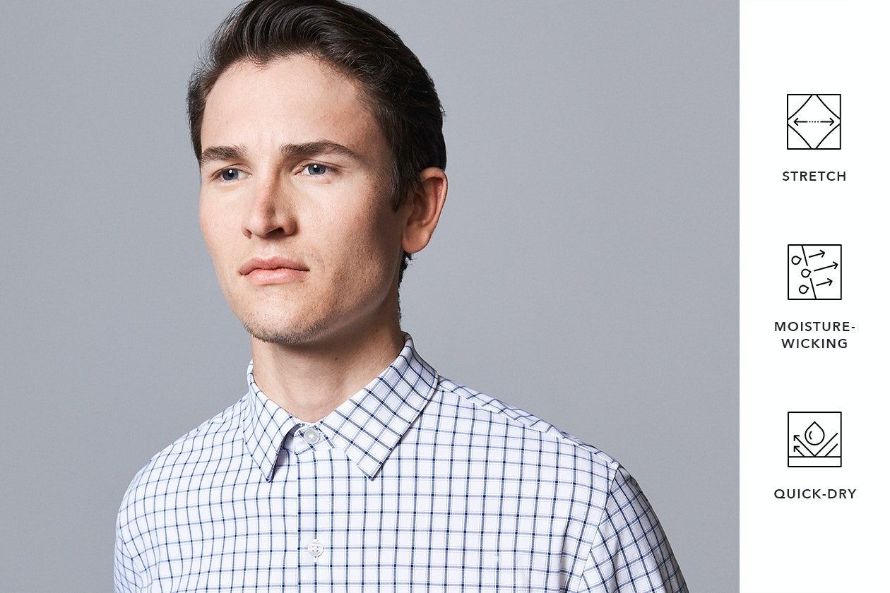 Editorial photo for Tech Button Down Shirt category