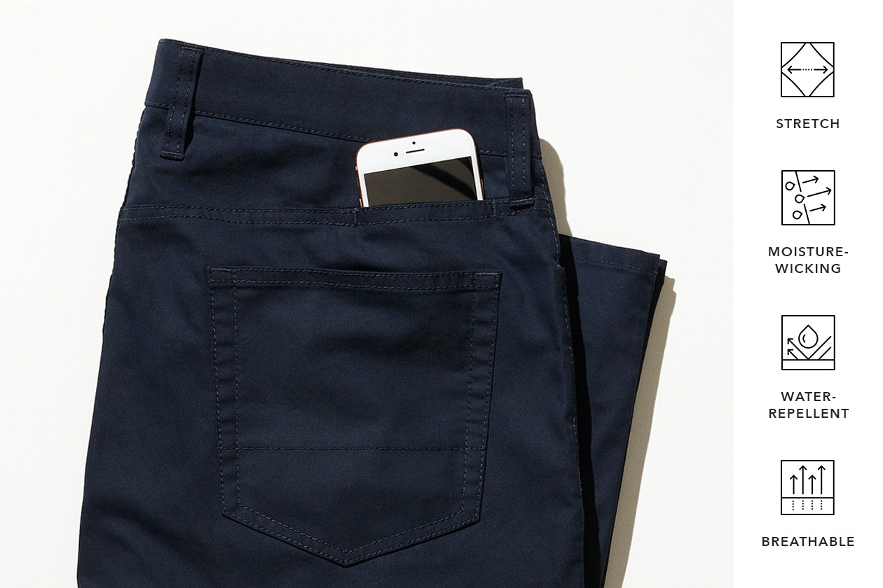 Editorial photo for Tech 5-Pocket Pants category