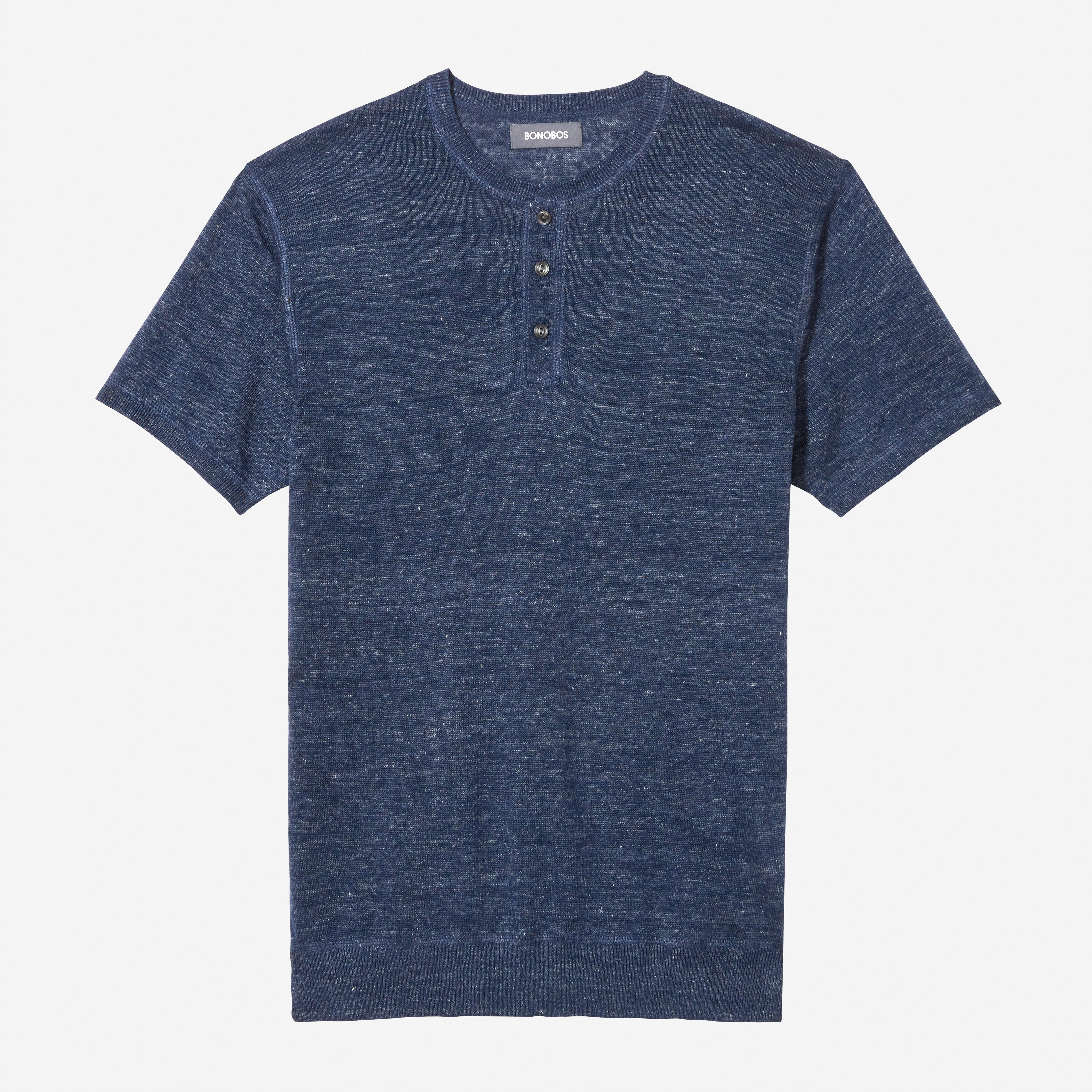 Short Sleeve Linen Henley