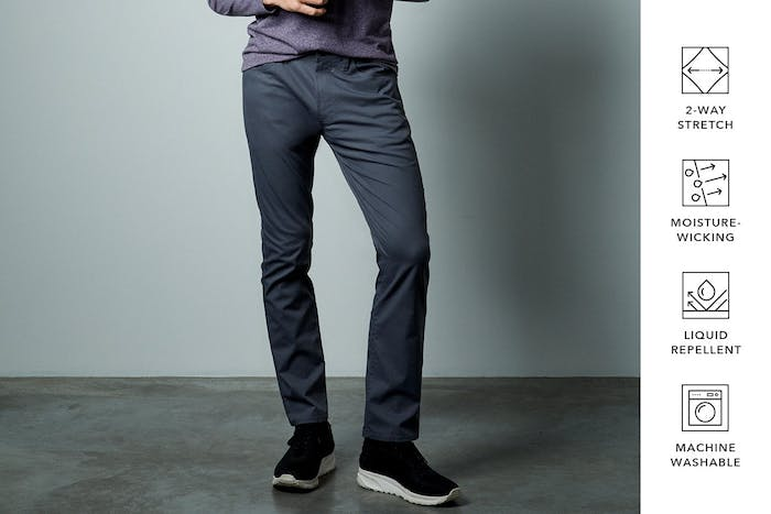 Editorial photo for Tech Chinos & 5-Pockets category