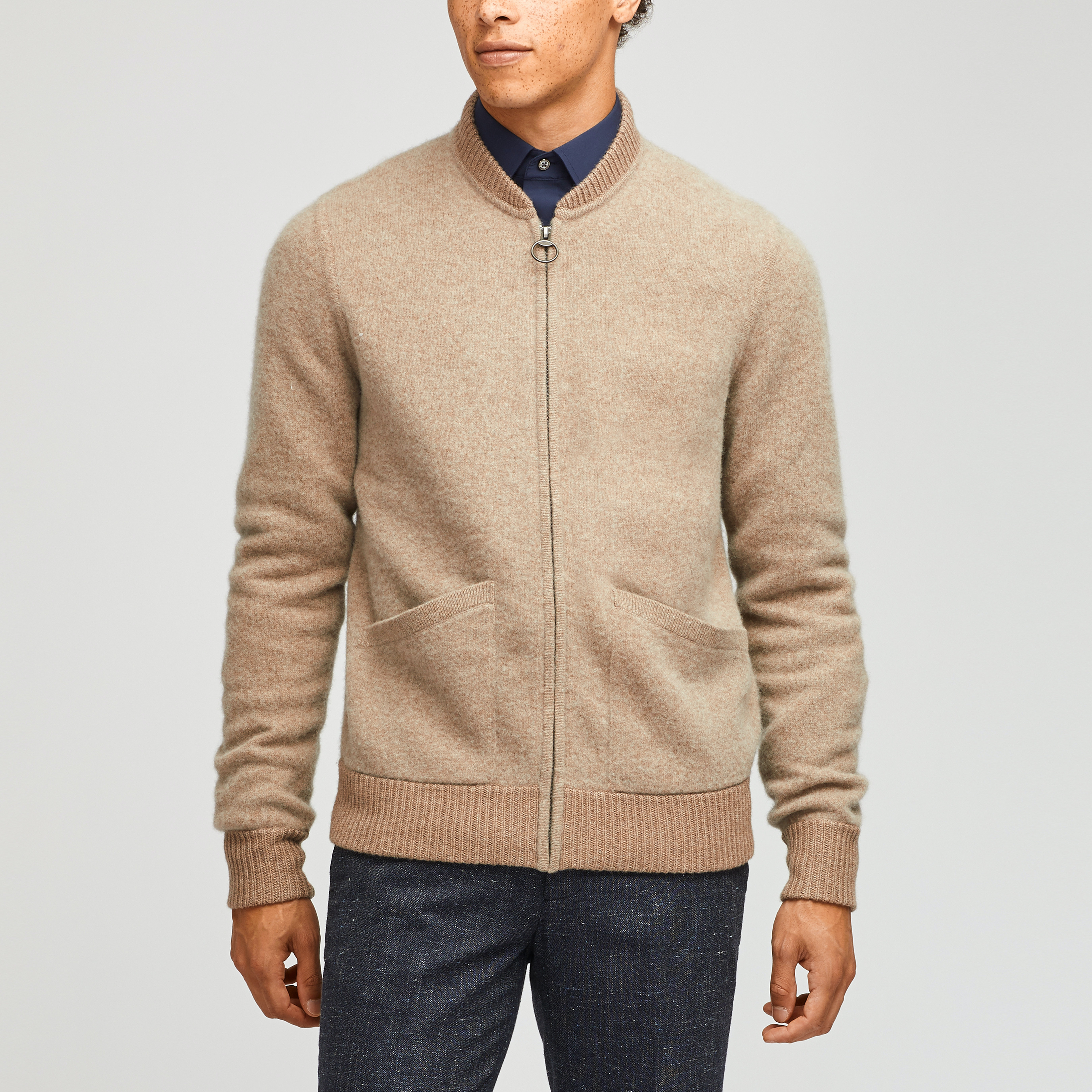 Felted Wool Blend Bomber Sweater