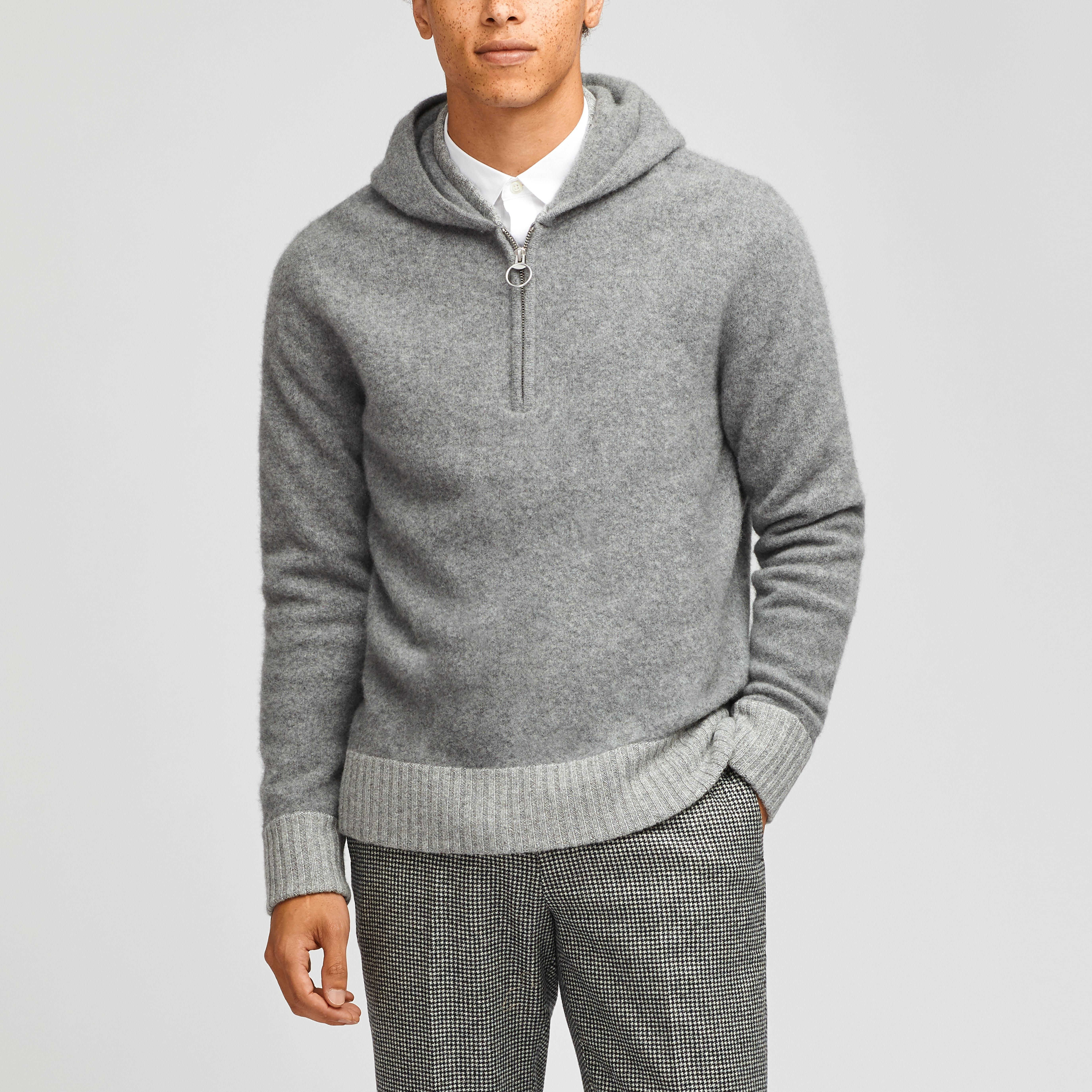 Felted Wool Blend Sweater Hoodie