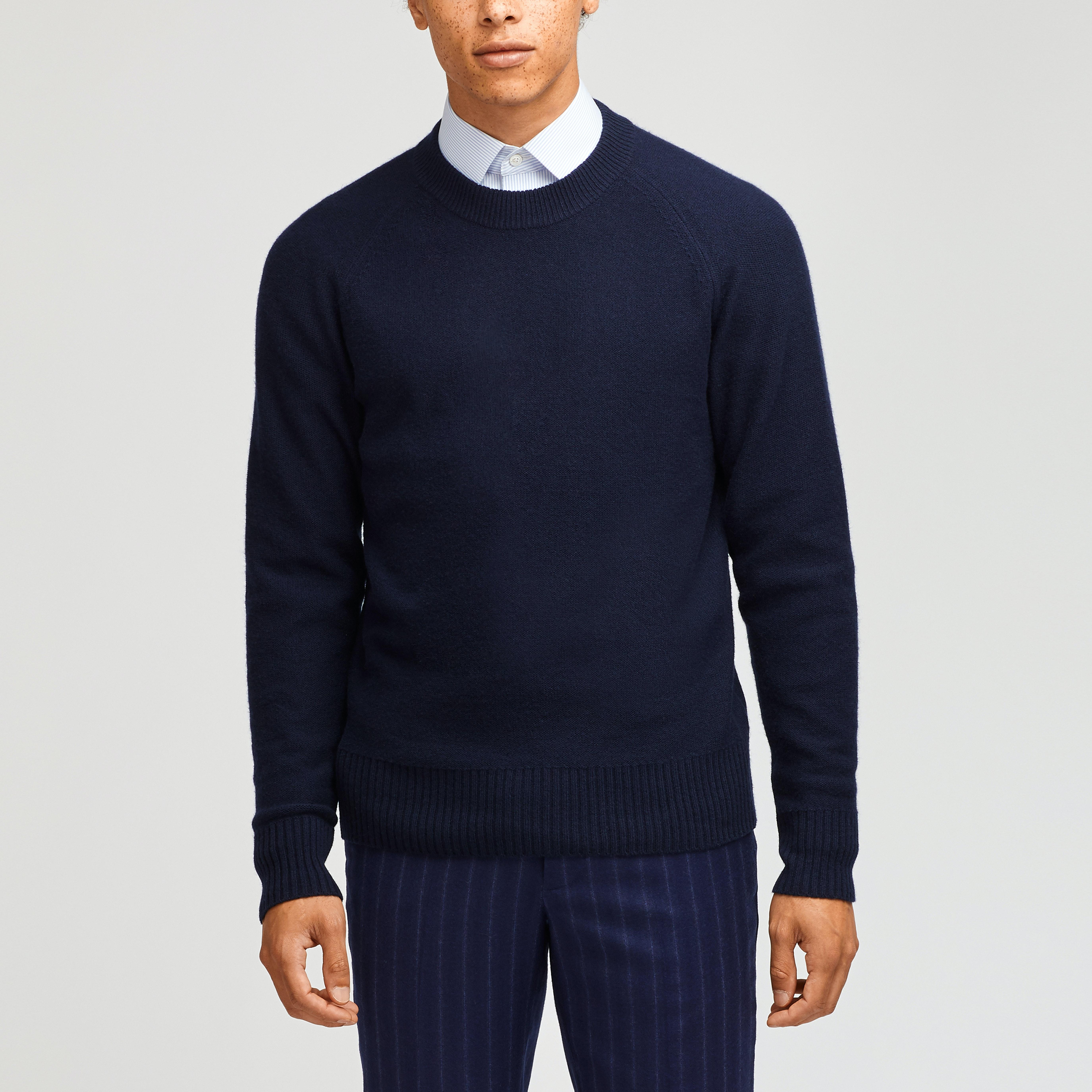 Wool Blend Raglan Crew Neck Sweater