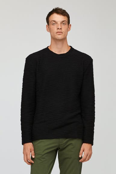 Textured Crew Neck Sweatshirt